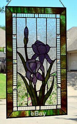 Large Purple Iris Stained Glass Window Panel