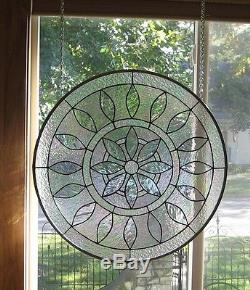 Large Round Iridized Victorian Stained Glass Window Panel EBSQ Artist