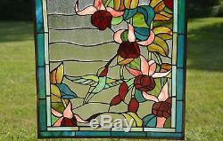 Large Tiffany Style stained glass window panel Hummingbirds & Flower, 20 x 34