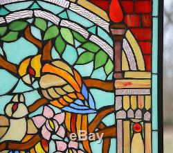 Large Tiffany Style stained glass window panel Love Bird Two Parrot 20.75 x 35