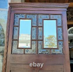 Large Victorian Walnut Panel W Stained Glass & Beveled Mirrors