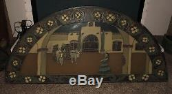 Large Vintage 65x32 Original Arched Stain Glass Panel Window withSpanish Scene