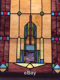 Large Vintage Stained Glass Panel 28.5 x 64.5 Beautiful