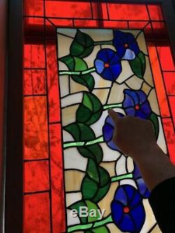 Leaded Stained Glass Window Panel 21x 34/2 Gorgeous Red & Blue Floral (READ)