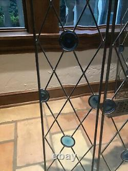 Leaded Stained Glass Window Panel With Blue Bullets