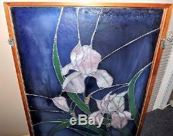 Lge. Vtg. Stained Leaded Glass Panel IRISES Framed & Encased in Glass 29 x 21