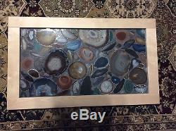 Lighted agate geode mosaic panel window door 18 x 30