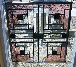 Log Cabin Stained Glass Window Panel EBSQ Artist