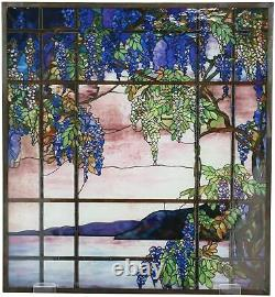 Louis Comfort Tiffany Landscape Window Oyster Bay Stained Glass Art Panel