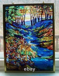 Louis Tiffany Stained Glass Window Suncatcher Forest Deer Guild Panel With Chain