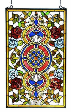 MANDALA LOTUS BLOSSOM 20x32 ROSES RED BLUE FLORAL STAINED GLASS WINDOW PANEL