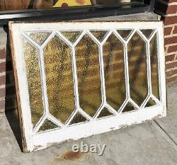 MID CENTURY STAINED GLASS WINDOW AMBER 36x24 16 PANEL WOOD FRAME BEAUTY RARE