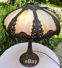 Magnificent Antique Panel Slag Stained Glass Table Double Lamp Shade with Base