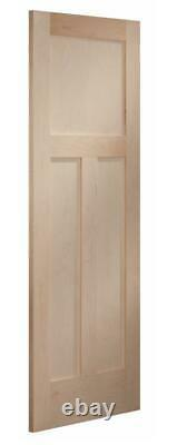 Maple 3 Panel Mission Shaker Flat Panel Stain Grade Solid Core Interior Doors