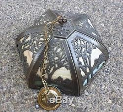 Massive Vintage Scenic Slag Glass Panel Ceiling Stained Lamp Signed