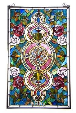 Medallion Design 20 X 32 Tiffany Style Stained Glass Panel LAST ONE THIS PRICE