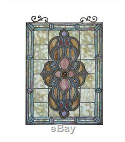 Medallion Tiffany Style Stained Glass Window Panel 18 x 25 LAST ONE THIS PRICE