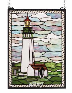 Meyda 15 x 20 Yaquina Head Lighthouse 270 Pc Stained Art Glass Window Panel