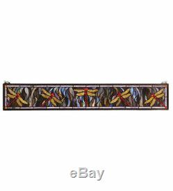 Meyda Lighting 72896 40.5W X 6H Dragonfly Stained Glass Window Panel
