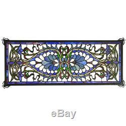 Meyda Lighting Antoinette Transom Stained Glass Window Panel 29W X 11H 78104