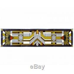 Mission Style Art Glass Window Panel Craftsman Color 42 Horizontal Hanging