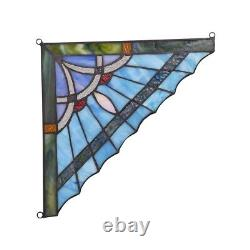 Mission Tiffany Style Stained Glass Corner Window Panels 8 Handcrafted PAIR