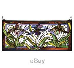 NEW Meyda Lighting 22928 30W X 13H Lady Slippers Stained Glass Window Panel