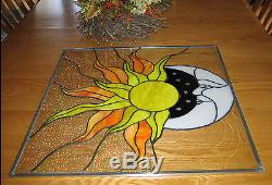 Natures Elements Stained Glass Windows Panel Sun Moon