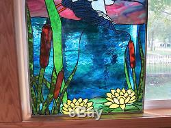 Night Heron Stained Glass Windows Panel Original