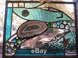 Ocean Treasures 18 stained glass panel window with large sliced agate, shells