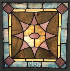 Old Leaded Stained Glass Window Panel With Hooks. Moving Sale Reduction