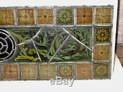 Original Early Victorian Stained Glass Panel Hand Painted Details