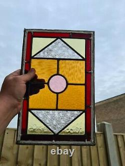 Original Victorian salvaged leaded stained glass window panel from door