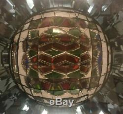 Outstanding 4 Panel kaleidoscope Mirrored Tapered Stained Glass 1989 signed KS