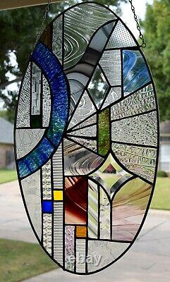 Oval Geometric Stained Glass Window Panel