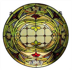 PAIR Hand-crafted Stained Glass 24 Round Window Panels 268 Pieces Cut Glass