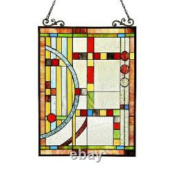PAIR Stained Glass Tiffany Style Window Panels Contemporary Design 17.5 x 25