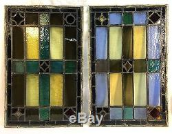 Pair Antique Leaded Stained Glass Window Panels 18 3/4 x 29 Each