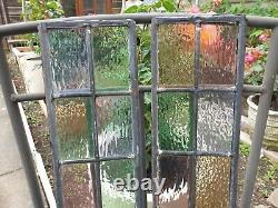 Pair Of Small Victorian Stained Glass Window Panels