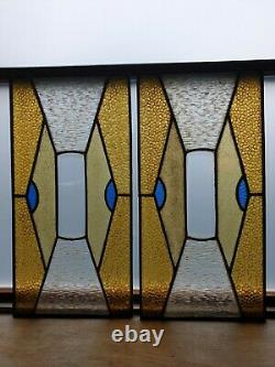 Pair of Antique Decorative Art Nouveau Reclaimed Stained Glass Window Panels