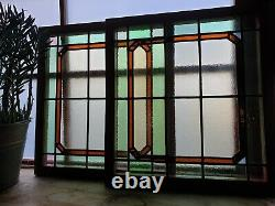 Pair of Antique Reclaimed Stained Glass Window Panels