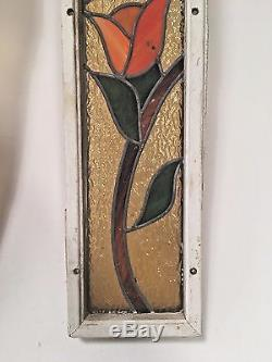 Pair of Antique Stained Glass Side Light Window Panels Architectural Salvage
