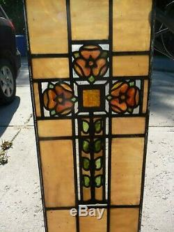 Panel Cross Stained Glass window Church leaded Antique Flower Pattern Antique