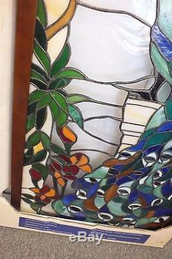Peacock Bird Garden Stained Glass Tiffany Style Window Panel 20 x 40 New