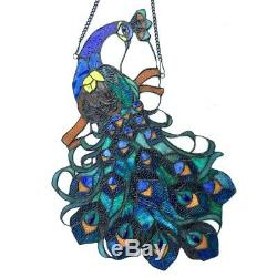 Peacock Design Stained Glass Hanging Window Panel Home Decor Suncatcher
