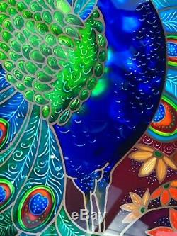 Peacock. Original Stained glass style hand painted glass panels to hang