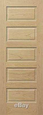 Poplar 5 Panel Equal Raised Panels Stain Grade Solid Core Interior Wood Doors