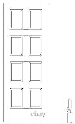 Primed 8 Panel Equal Raised Panel Solid Core Stile & Rail Interior Doors #8CC