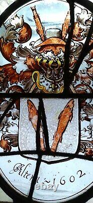 RARE MUSEUM QUALITY EARLY 17th C. FLEMISH STAINED GLASS WINDOW PANEL. Dated 1602