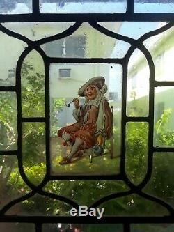 RARE MUSEUM QUALITY EARLY 17th C. FLEMISH STAINED GLASS WINDOW PANELMan w Pipe